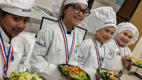 Graphic: child chefs holding their plates of food