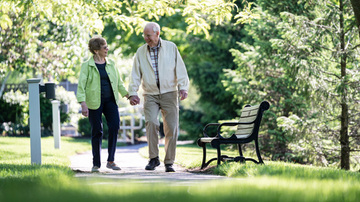 Senior couple walking in a beautiful park
