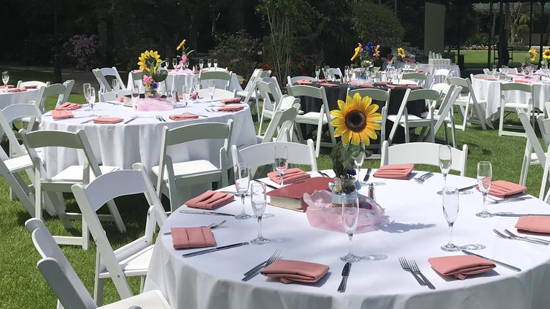 elegant table setting for a large group of people