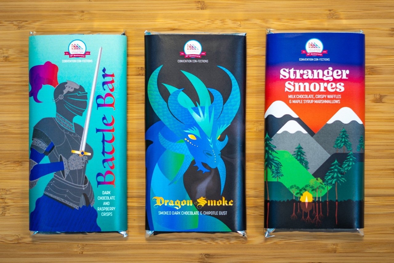 Battle Bar, Dragon Smoke, and Stranger Smores chocolate bars
